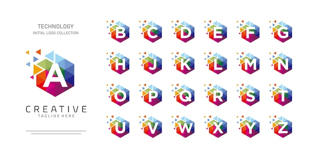 Alphabet initial coloré avec hexagone et pixel motion concept logo design collection