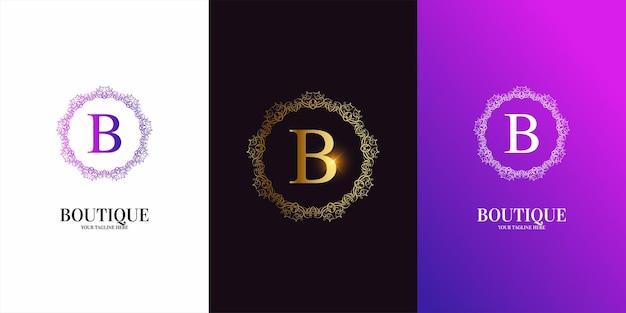 Alphabet initial de lettre b avec modèle de logo de cadre floral d'ornement de luxe.