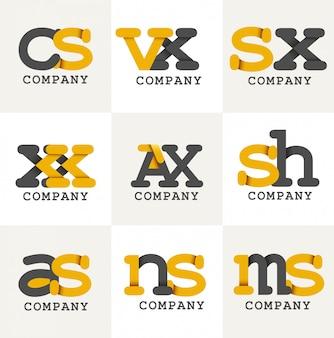 Alphabet initial logo design noir et jaune pour entreprise