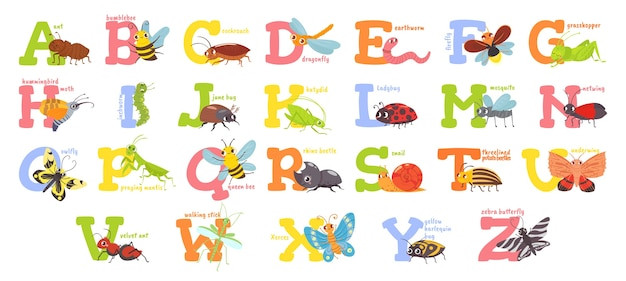 Alphabet d'insectes de dessin animé