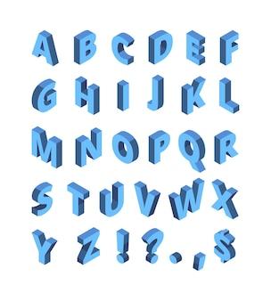Alphabet isométrique. ensemble de typographie vectorielle de police de demi-teintes géométriques de lettres colorées de ligne. lettre isométrique de typographie alphabet, illustration de perspective de composition graphique abc