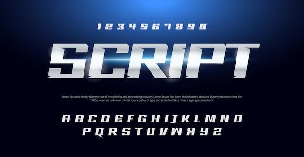 Alphabet italique sport typographie moderne et ensemble de chiffres