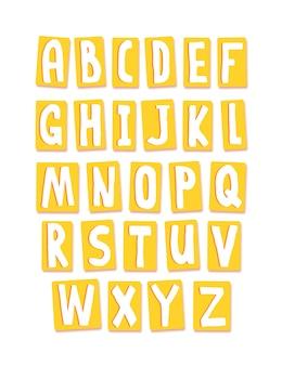 Alphabet jaune mignon en carré