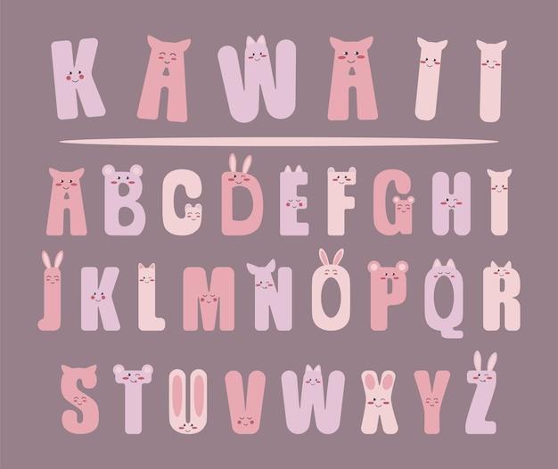 Alphabet kawaii mignon différent