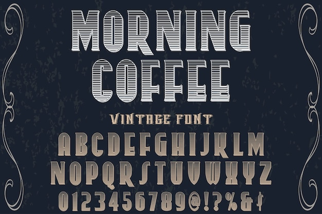 Alphabet label design café du matin