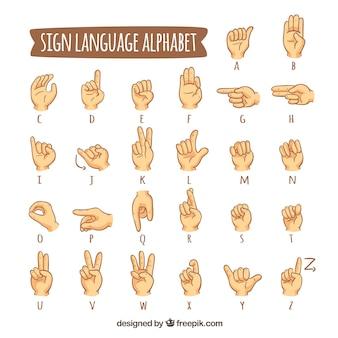 Alphabet de langue des signes dans le style dessiné à la main