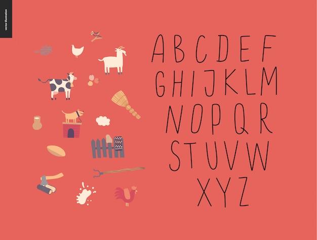 Alphabet latin manuscrit de vecteur