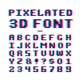 Alphabet latin old school pixel art 8 bits avec effet de distorsion anaglyphe