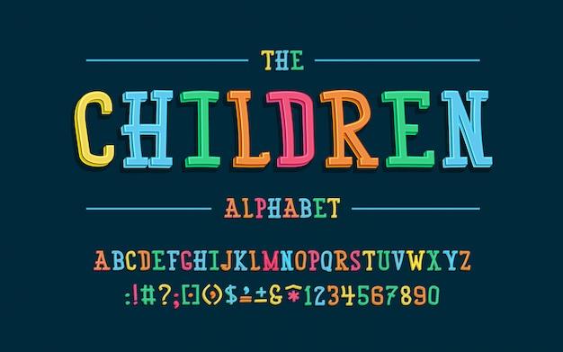 Alphabet latin police d'enfants dans un style 3d de dessin animé mignon. pour votre conception