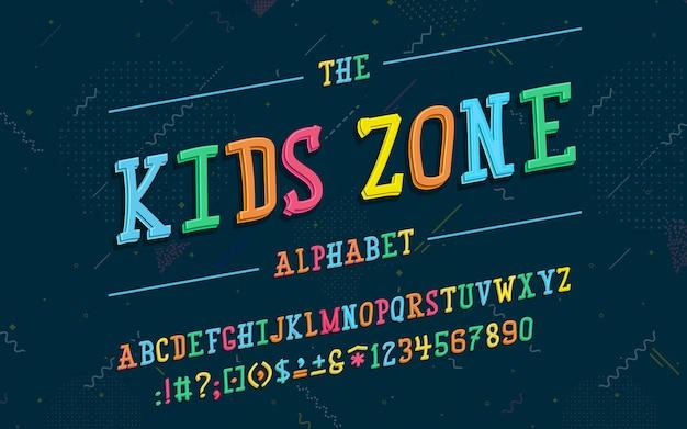 Alphabet latin police zone enfants dans un style 3d de dessin animé mignon. pour votre conception