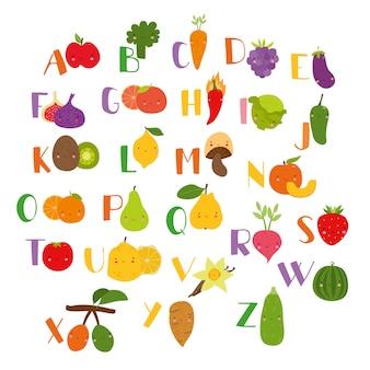 Alphabet de légumes beaux fruits