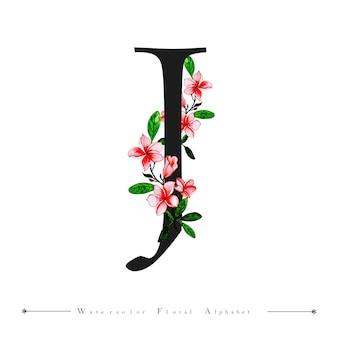 Alphabet letter j aquarelle floral background