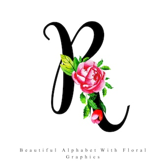 Alphabet letter r aquarelle floral background