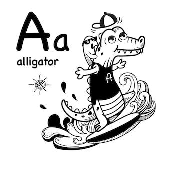 Alphabet lettre un alligator dessiné à la main