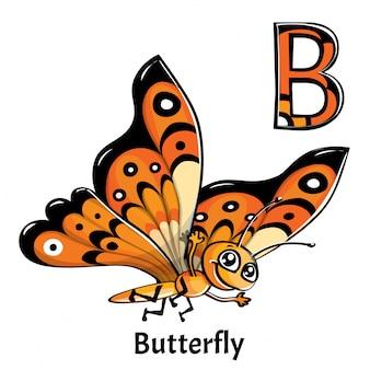 Alphabet, lettre b de papillon