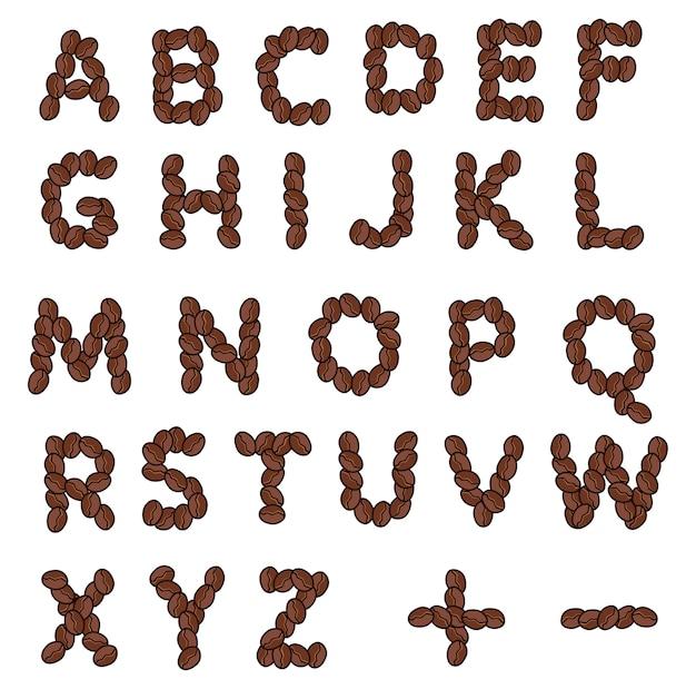 Alphabet lettre café