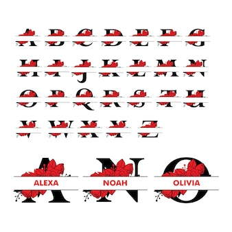 Alphabet de lettre fractionnée monogramme avec illustration florale