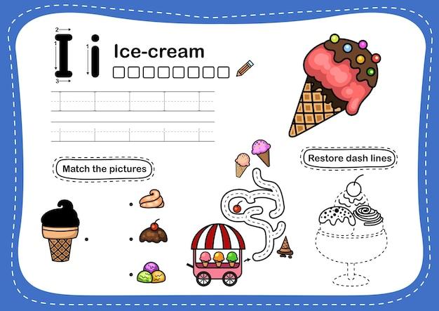 Alphabet lettre i-exercice de crème glacée avec vocabulaire de dessin animé