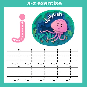 Alphabet lettre j-méduse exercice, papier découpé illustration vectorielle concept