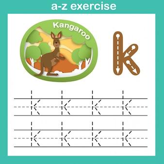 Alphabet lettre k-kangourou exercice, papier découpé illustration vectorielle concept