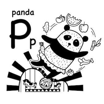 Alphabet lettre p panda dessiné à la main