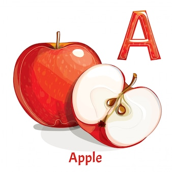 Alphabet, lettre a de pomme