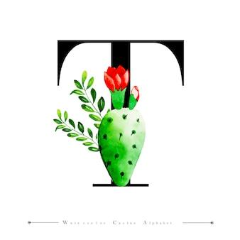 Alphabet lettre t avec aquarelle cactus