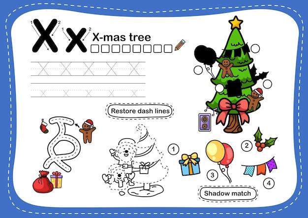 Alphabet lettre x - exercice d'arbre de x-mas avec vocabulaire de dessin animé