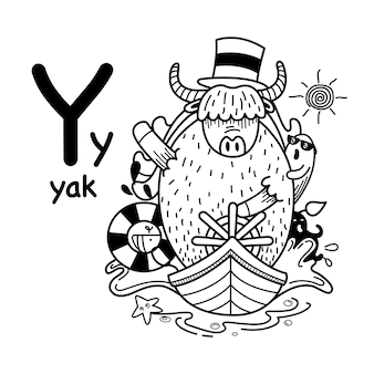 Alphabet lettre y yak dessiné à la main