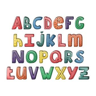 Alphabet avec des lettres dessinées à la main avec des rayures et des points. jeu de typographie