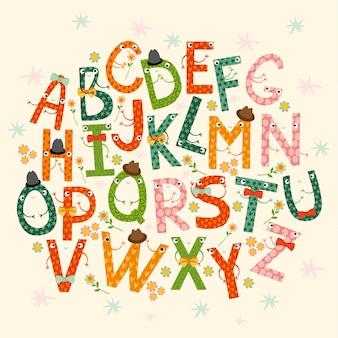 Alphabet, lettres drôles