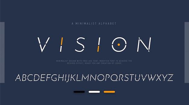 Alphabet avec des lettres modernes pour les logos.