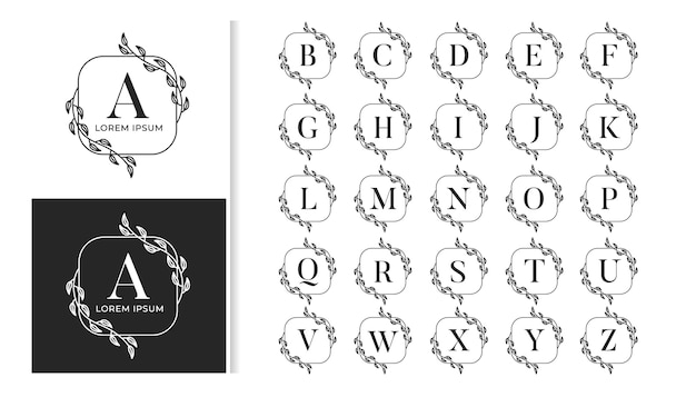Alphabet de logo de monogramme de mariage de luxe décoratif ensemble d'alphabet de logo de monogramme de mariage de luxe décoratif