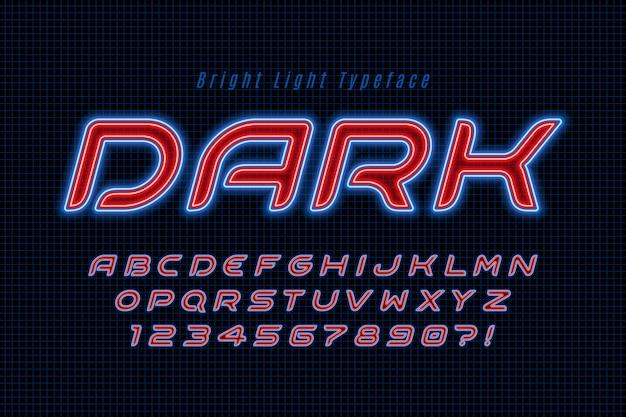 Alphabet de lumière au néon, police extra rougeoyante multicolore.