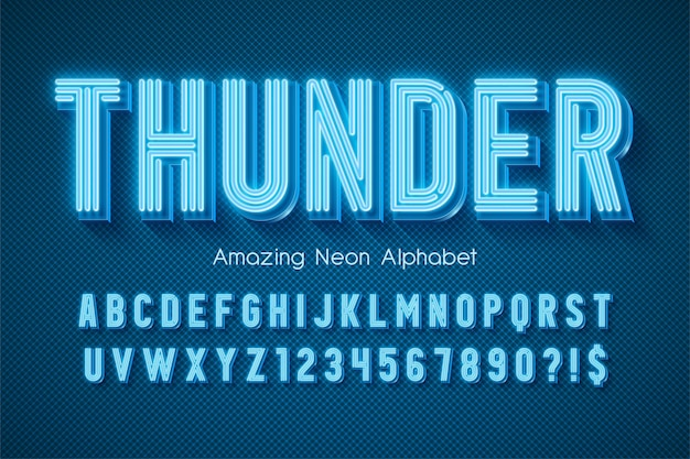 Alphabet de lumière au néon, type moderne très brillant. contrôle de la couleur de l'échantillon.