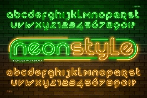 Alphabet de lumière au néon, type moderne très brillant.