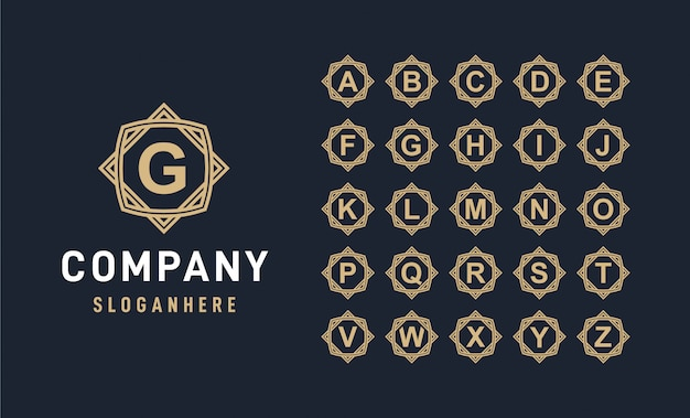 Alphabet de luxe avec logo insigne de cadre
