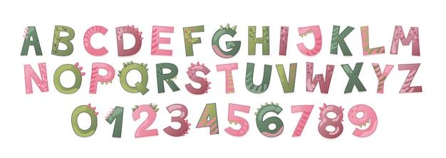 Alphabet mignon de dinosaure de dessin animé pour la fille. police dino avec lettres et chiffres. enfants illustration vectorielle pour t-shirts, cartes, affiches, événements de fête d'anniversaire, conception de papier, conception d'enfants et de crèche