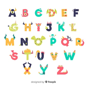 Alphabet mignon de monstre d'halloween