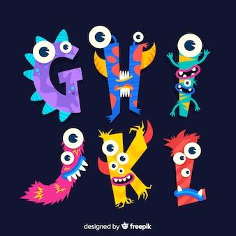 Alphabet mignon de monstre d'halloween