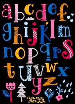 Alphabet mignon avec des tourbillons isolé sur fond pour texte