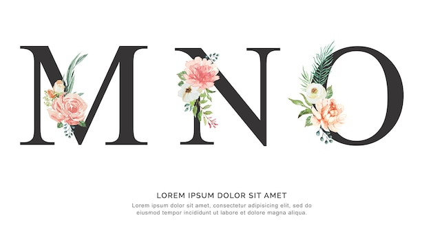 Alphabet mno fleur et feuilles aquarelle.