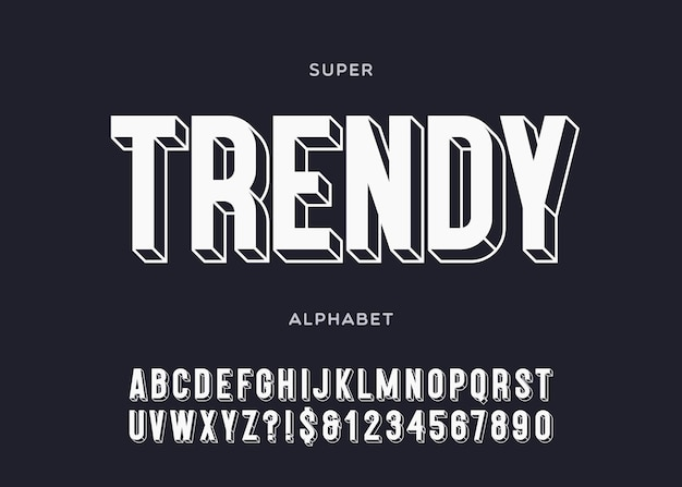 Alphabet à la mode typographie audacieuse 3d style sans empattement pour affiche