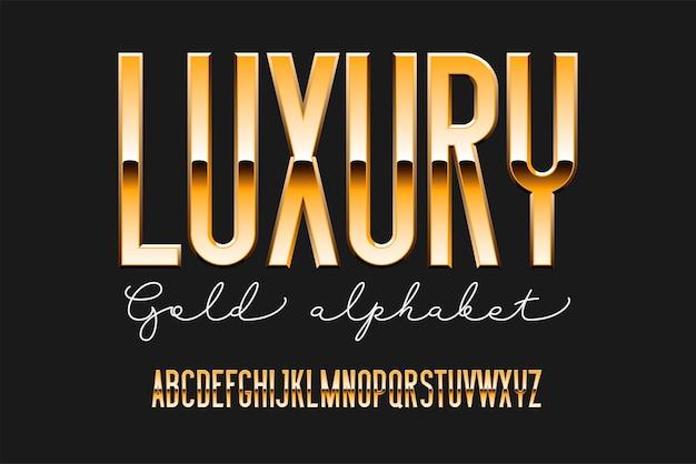 Alphabet moderne condensé d'or. police métallique sans empattement. technologie typographie lettres dorées.