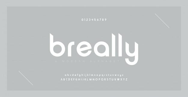 Alphabet moderne créatif de police minimale. typographie avec point régulier et nombre. jeu de polices de style minimaliste.