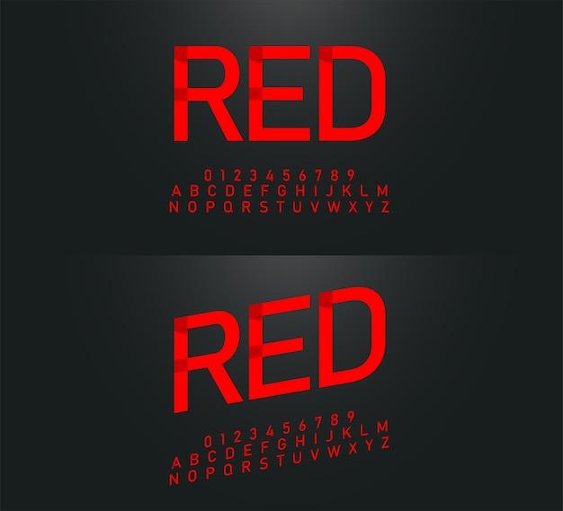 Alphabet moderne origami alphabet rouge polices et chiffres