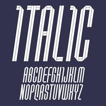 Alphabet moderne plié de ruban de papier. police italique, lettres blanches