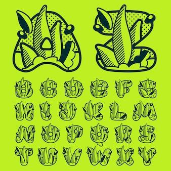 Alphabet monochrome de paysage avec des feuilles et des gouttes de rosée