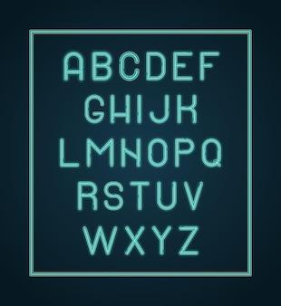 Alphabet néon. les lettres d'éclairage brillent le lettrage de la police.