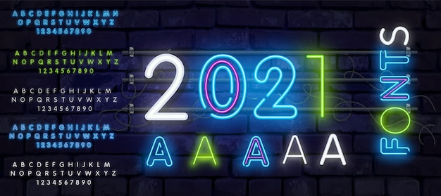 Alphabet néon, police lumineuse supplémentaire réaliste. 5 en 1. contrôle exclusif de la couleur de l'échantillon. néon lettres blanches 2021 enseigne au néon, enseigne lumineuse, bannière lumineuse. logo néon, emblème.